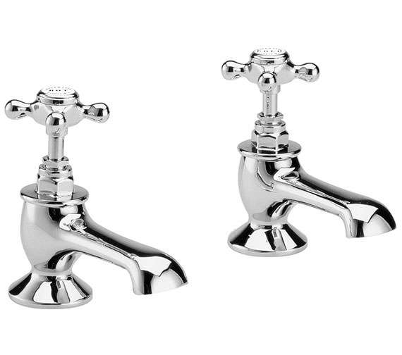 Bayswater Bath Taps With White X Head And Hex Collar