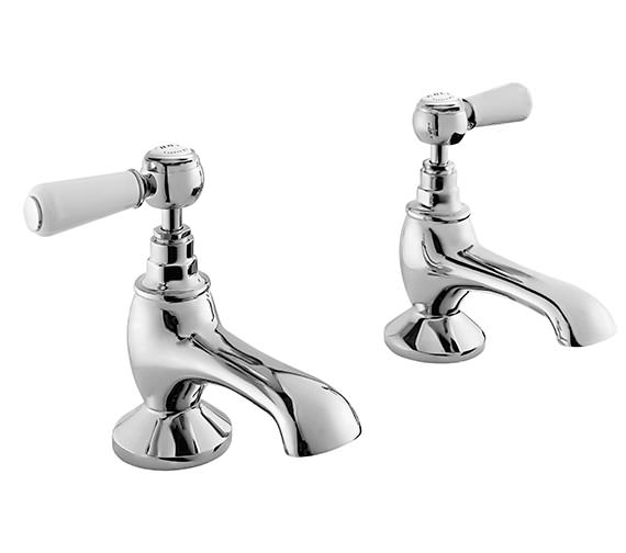 Bayswater Bath Taps With White Lever And Hex Collar