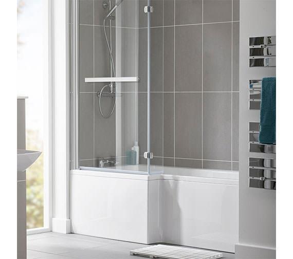 Essential Kensington 1600 x 850mm L Shape Shower Bath Pack - Left Hand