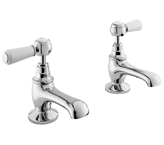 Bayswater Basin Taps With White Lever And Hex Collar