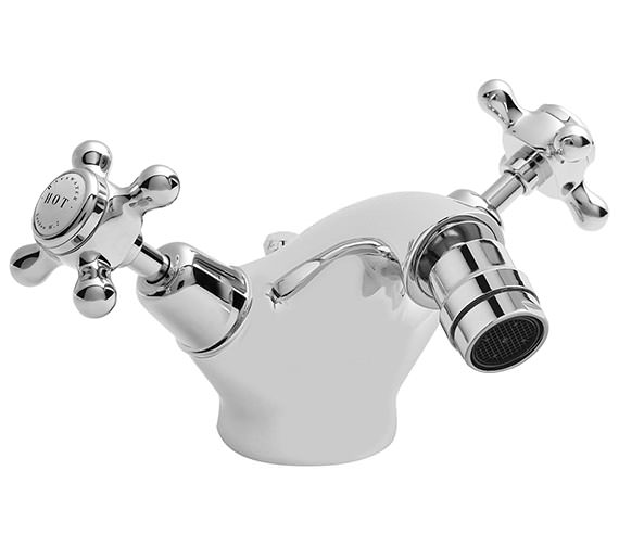 Bayswater Mono Bidet Mixer Tap With White X Head And Dome Collar