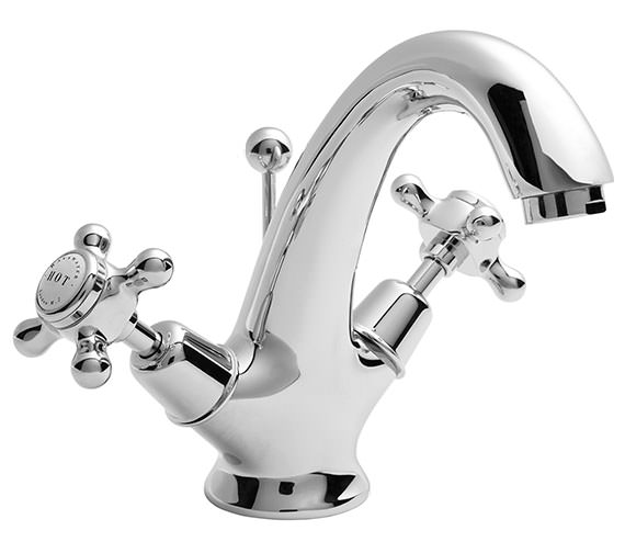 Bayswater Mono Basin Mixer Tap With White X Head And Dome Collar