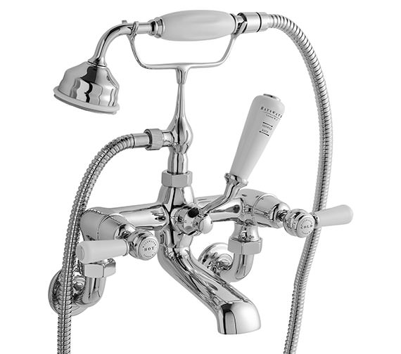 Bayswater Wall Mounted Bath Shower Mixer Tap With White Lever And Hex Collar