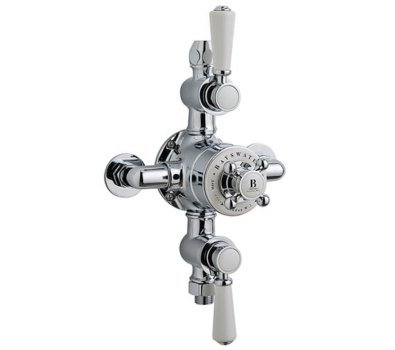Bayswater Triple Exposed Shower Valve With White Handle