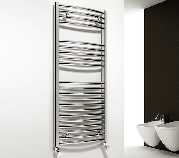 Reina Diva 500 x 800mm Chrome Curved Towel Rail