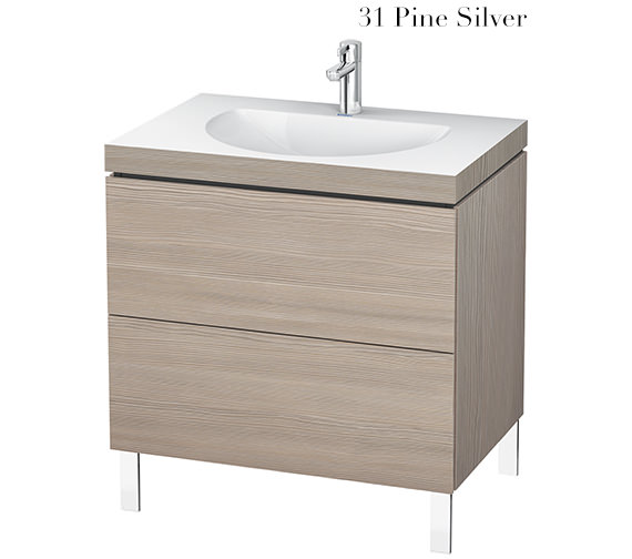 Additional image of Duravit L-Cube 800mm Floor Standing Vanity Unit With C-Bonded Washbasin
