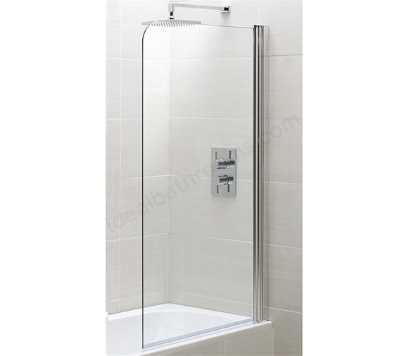 Essential Spring Half Radius Bath Screen 800 x 1500mm