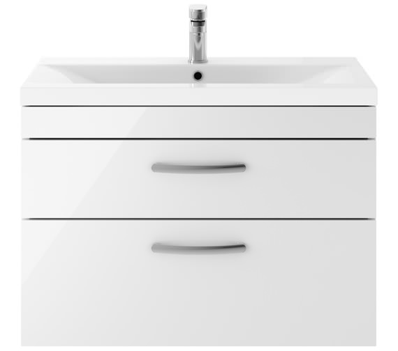 Premier Athena 800mm 2 Drawer Wall Hung Cabinet With Basin 2 Gloss White Finish