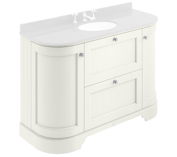 Bayswater 1200mm Pointing White 2 Drawer And Curved Door