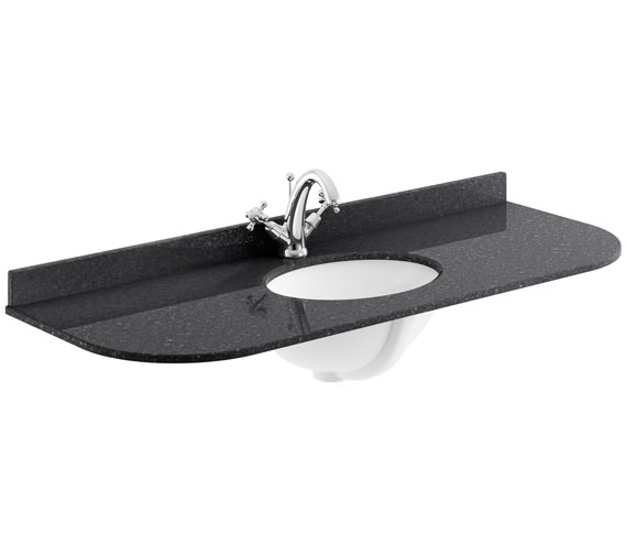 Bayswater 1200mm Black Curved Marble Top Single Bowl Basin With 1 Taphole