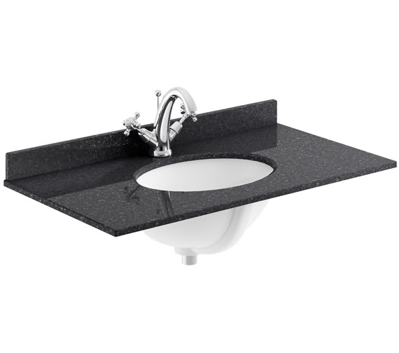 Bayswater 800mm Black Marble Top Single Bowl Basin With 1 Taphole