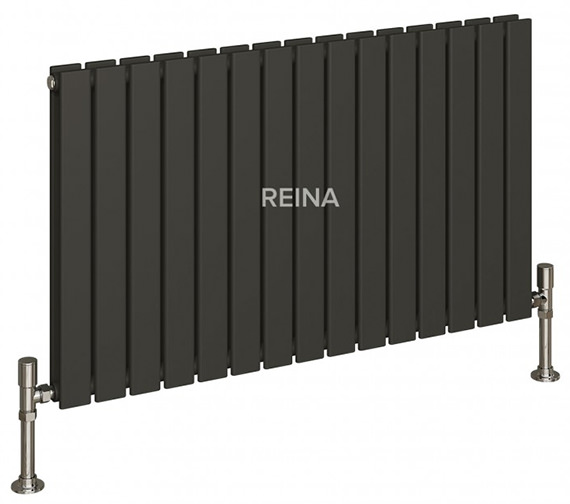 Additional image of Reina Flat 600mm High Double Panel Horizontal Designer Radiator White Or Anthracite 440mm Wide