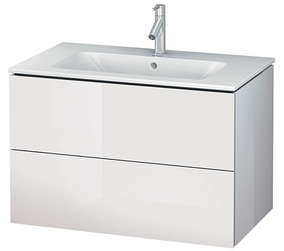 Alternate image of Duravit L-Cube 820mm White Matt 2 Drawers Vanity Unit With Me By Starck Basin