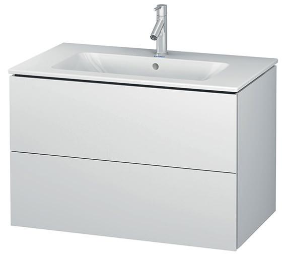 Duravit L-Cube 820mm White Matt 2 Drawers Vanity Unit With Me By Starck Basin