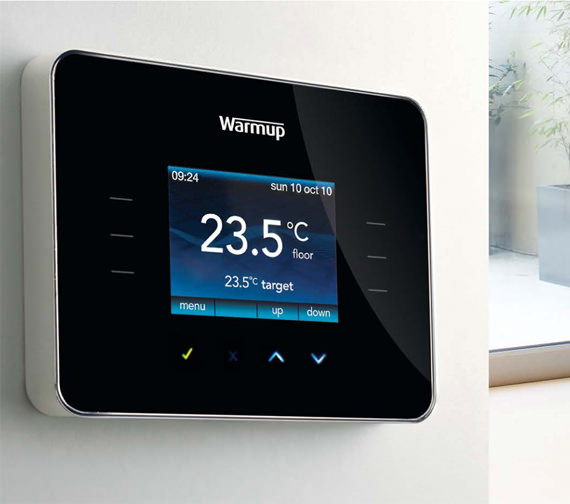 Alternate image of Warmup 3iE Energy Monitoring Piano Black Thermostat