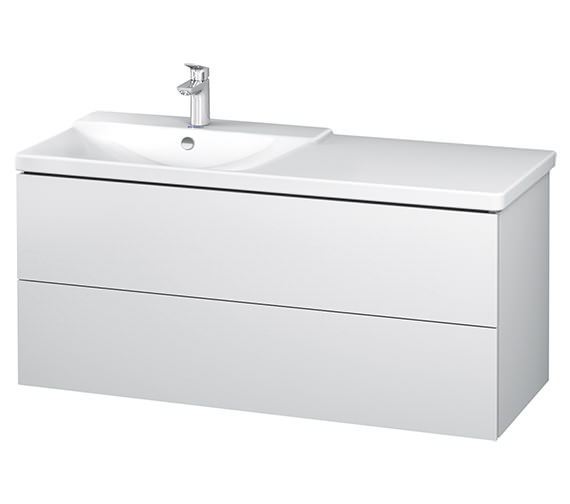 Duravit L-Cube 1220mm White Matt Vanity Unit With P3 Comforts Basin - Bowl On Left