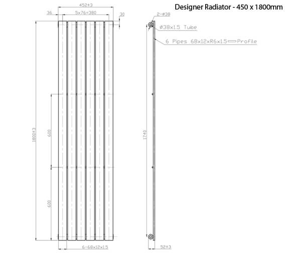 Additional image of Phoenix Orla 1800mm Height Vertical Designer Radiator Chrome