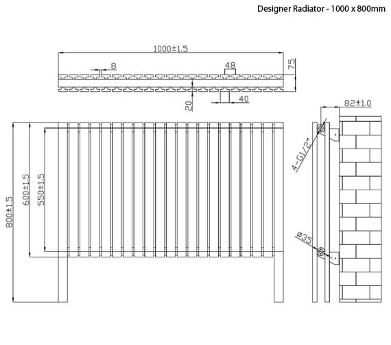 Additional image of Phoenix Sienna 800mm Height Anthracite Designer Radiator - More Width Sizes Available