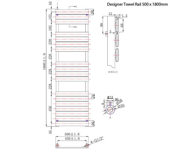 Additional image of Phoenix Sorento 500mm Width Designer Towel Rail