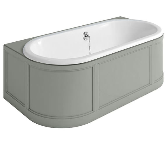 Burlington London 1800 x 950mm Back-To-Wall Bath With Grey Curved Surround