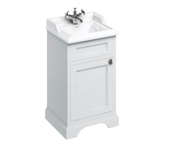 Burlington Freestanding 500mm Matt White 1 Door Unit With Classic Basin