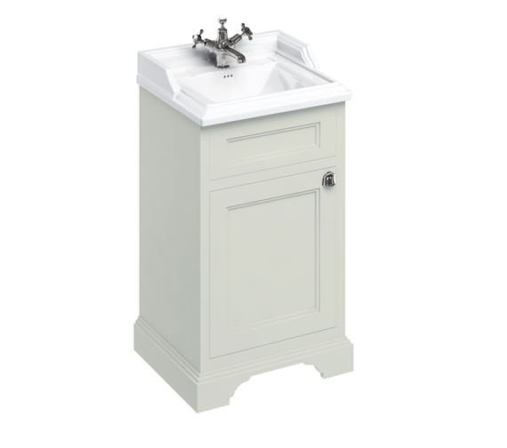 Additional image of Burlington Freestanding 500mm Matt White 1 Door Unit With Classic Basin