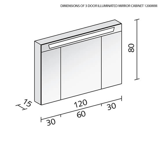Additional image of Schneider Capeline 3 Door Illuminated Mirror Cabinet 1000mm - More Width Sizes Available