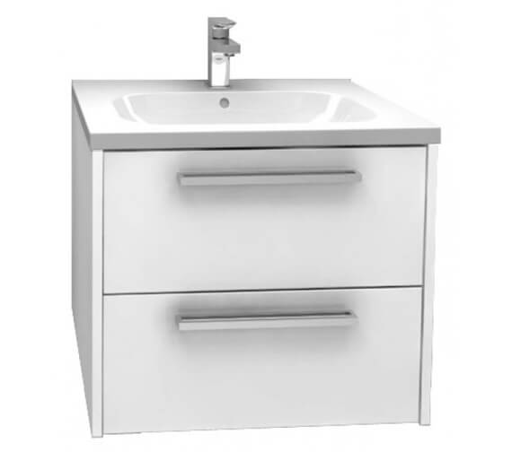 Pura Arco 600mm Wall Mounted Double Drawer Storage Cabinet With Basin High Gloss White Finish