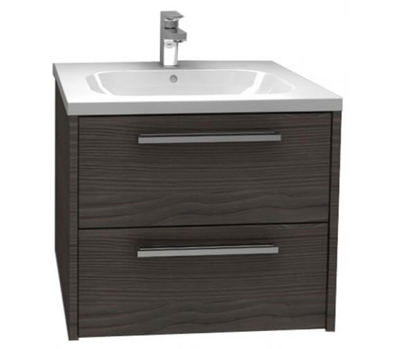 Additional image of Pura Arco 600mm Wall Mounted Double Drawer Storage Cabinet With Basin High Gloss White Finish