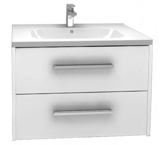 Pura Arco 750mm Wall Mounted Double Drawer Storage Cabinet With Basin