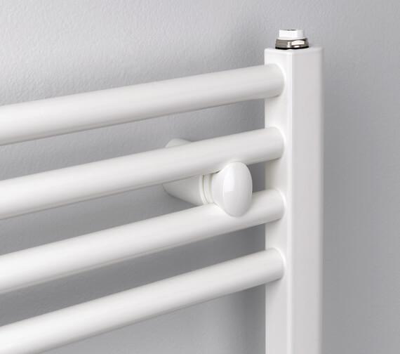 MHS Rads 2 Rails Aldgate Straight White Dual Fuel Towel Rail 400 x 700mm - More Sizes Available