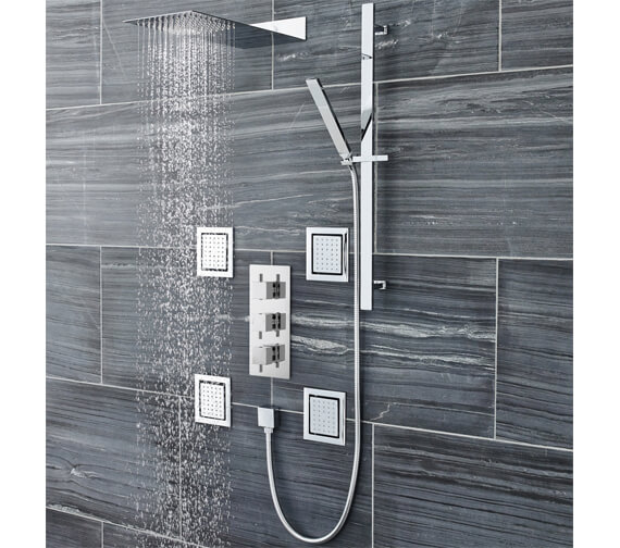 Hudson Reed Square Sheer Slider Rail Kit With Shower Handset And Outlet Elbow
