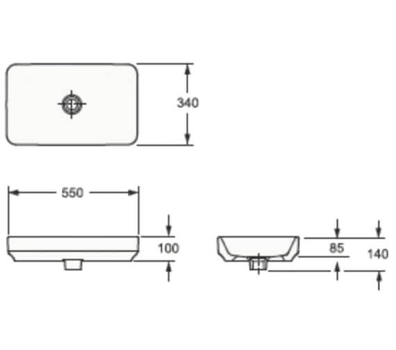Pura Arco 550mm Countertop Basin