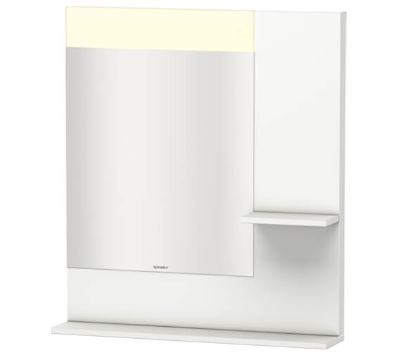 Duravit Vero 800mm White Mirror With Light And Shelves to Right Side And Below