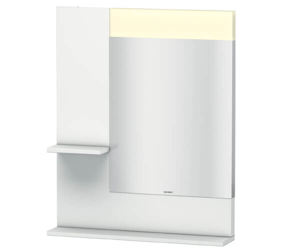 Duravit Vero 650mm Mirror With Light And Shelves to Left Side And Below