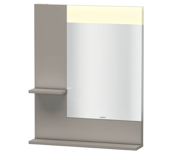 Additional image of Duravit Vero 650mm White Mirror With Light And Shelves to Left Side And Below