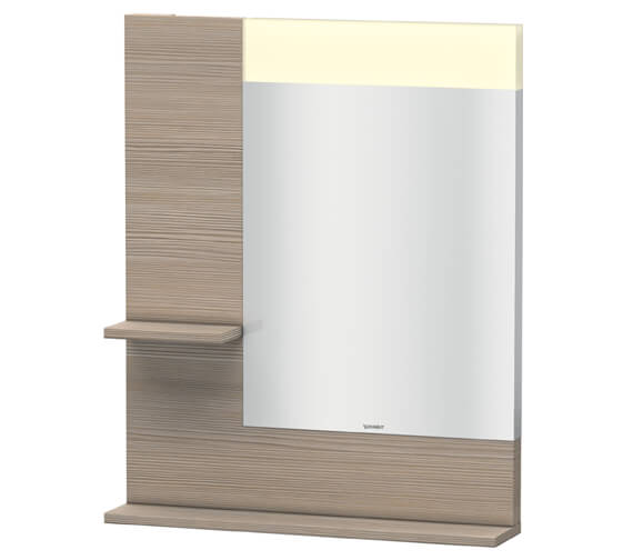 Additional image of Duravit Vero 650mm Mirror With Light And Shelves to Left Side And Below