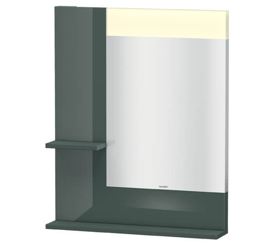 Alternate image of Duravit Vero 650mm White Mirror With Light And Shelves to Left Side And Below