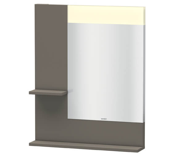 Duravit Vero 650mm White Mirror With Light And Shelves to Left Side And Below