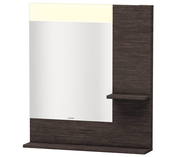 Alternate image of Duravit Vero 800mm White Mirror With Light And Shelves to Right Side And Below
