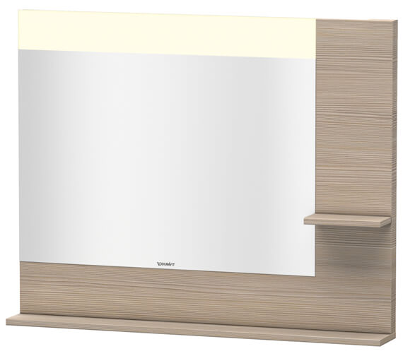 Additional image of Duravit Vero 1000mm Mirror With Light And Shelves to Right Side And Below
