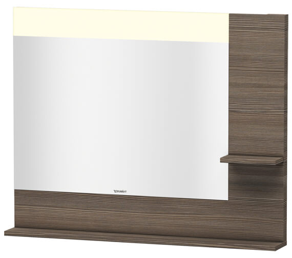 Alternate image of Duravit Vero 1000mm Mirror With Light And Shelves to Right Side And Below