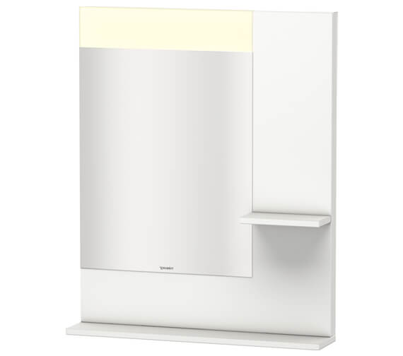 Duravit Vero 650mm Mirror With Light And Shelves to Right Side And Below