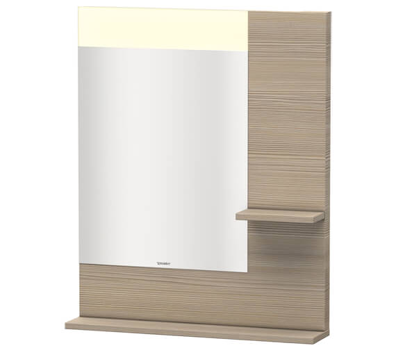 Additional image of Duravit Vero 650mm Mirror With Light And Shelves to Right Side And Below