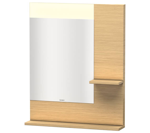 Alternate image of Duravit Vero 650mm Mirror With Light And Shelves to Right Side And Below
