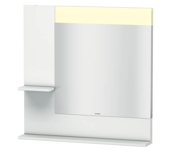 Duravit Vero 800mm Mirror With Light And Shelves to Left Side And Below