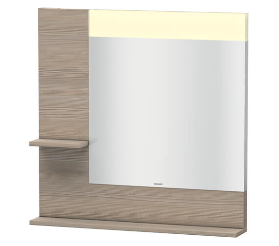 Additional image of Duravit Vero 800mm Mirror With Light And Shelves to Left Side And Below