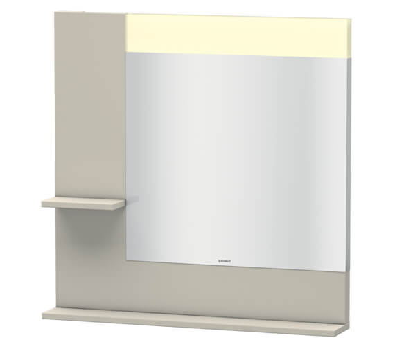 Alternate image of Duravit Vero 800mm Mirror With Light And Shelves to Left Side And Below