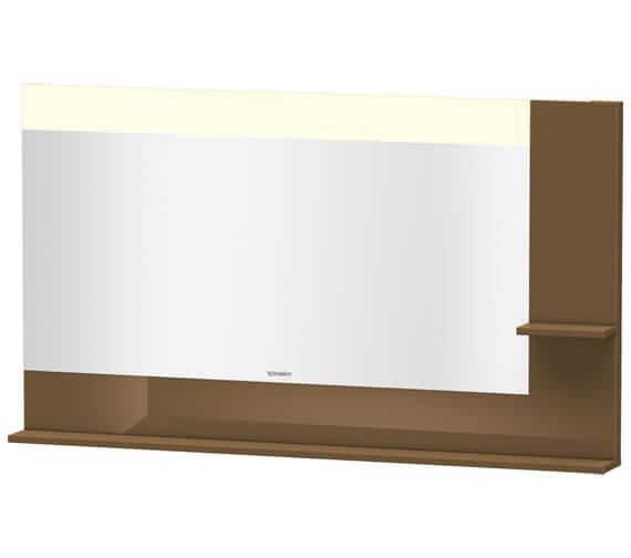 Alternate image of Duravit Vero 1400mm White Mirror With Light And Shelves to Right Side And Below