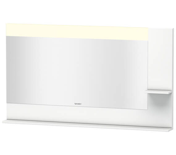 Duravit Vero 1400mm White Mirror With Light And Shelves to Right Side And Below